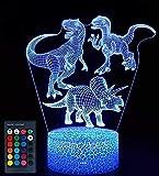 Créatif 3D Dinosaure Nuit Lampe 16 Couleurs Changeantes Puissance USB Télécommande Contact Switch Lampe Décorative Illusion Optique LED Lampe de Table Anniversaire Noël Cadeau Enfants Jouets