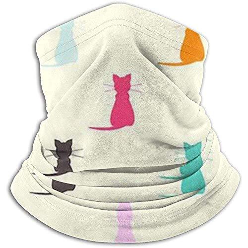 Bklzzjc Color Cat Pattern Fleece Neck Warmer - Tube de guêtre réversible, Bandeau et Masque Polyvalents pour Cache-Oreilles