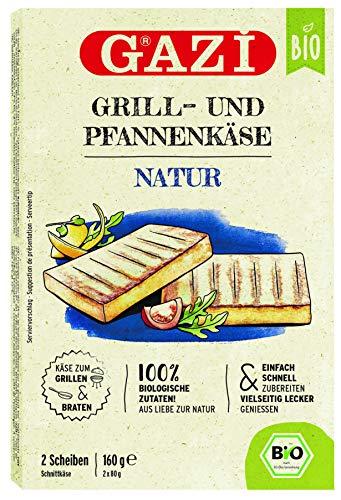 Gazi BIO Grill- und Pfannenkäse Natur - 10x 160gramm - Pfannenkäse Pfanne Grillkäse Grill Ofenkäse Ofen 43% Fett Schnittkäse Käse mikrobielles Lab nachhaltig Halal vegetarisch glutenfrei