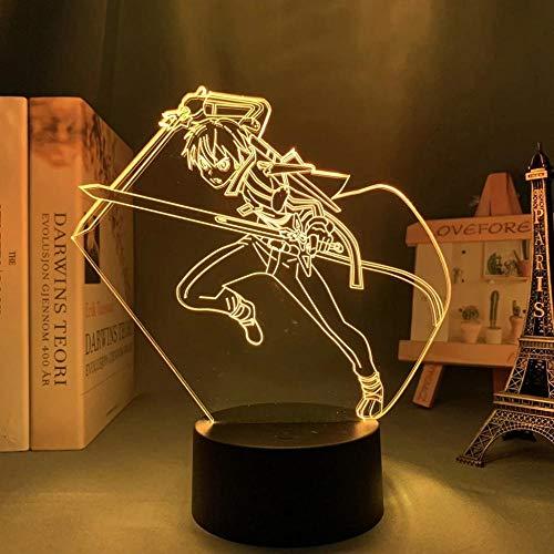 Anime Espada Arte Online Kirito lámpara Cool 3D ilusión noche lámpara hogar decoración acrílico LED luz Navidad regalo Lámparas (16 colores con control remoto)