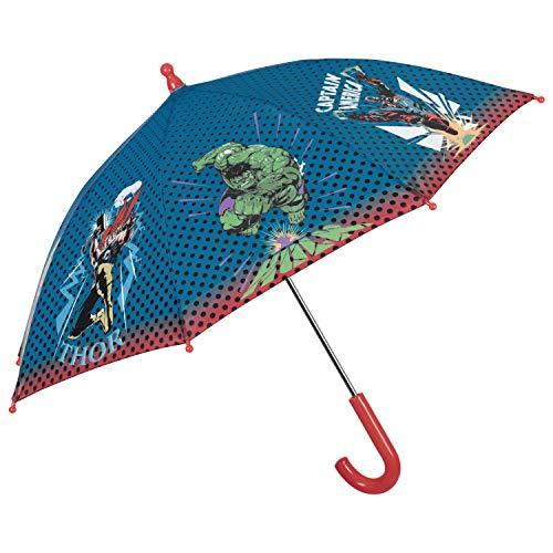 Marvel Avengers Kinder Regenschirm - Kinderschirm Captain America Iron Man Thor Hulk - Regenschirm Blau Rot Robust Windfest - Schirm Jungen Kleinkind 3 bis 6 Jahren - Durchmesser 76 cm - Perletti Kids