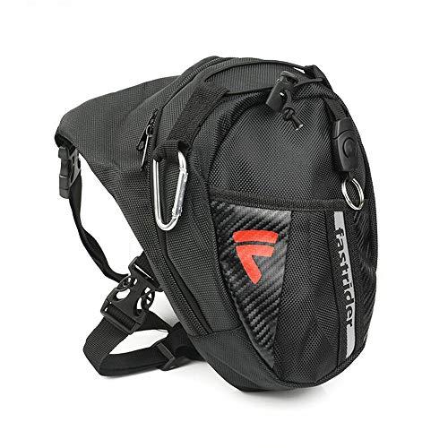 DQMEN Sport Beintasche,Motorrad Beintasche Outdoor Sport Reise Hüfttasche Waistpack für Bein Herren Damen Motorrad Wandern Outdoor (A-Schwarz)