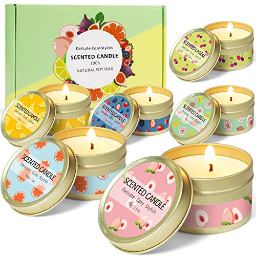 LASENTEUR Scented Candles Strong Fruity Fragrance Natural Soy Wax Aromatherapy Candle Gift...
