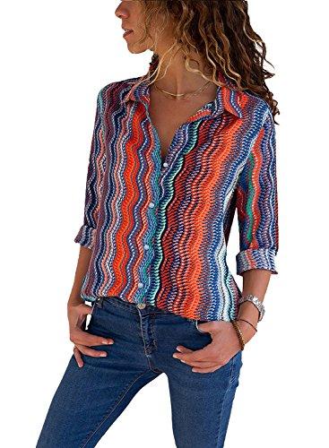 Avanon S-5XL bluzka damska w paski, szyfon, elegancka jesienna koszulka z długim rękawem, dekolt w serek, guziki, koszula z długim rękawem