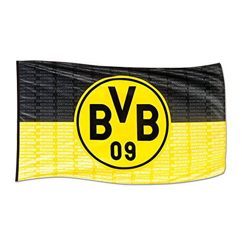 Borussia Dortmund BVB 10134300 Hissfahne mit Logo, Schwarz/Gelb, 250 x 150 x 1 cm