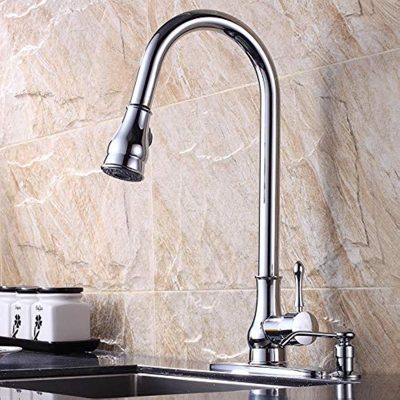 YAWEDA Alle Kupfer Drahtzieherei Küchenarmatur mit ausziehbarer Sprühkopfdichtung Kaltwassermischer Einhand-Küche-Wannen-Hahn-Plating
