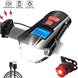 AlfaView Bike Lights, USB Rechargeable Headlight with Tail Light Bicycle Light Electronic Pedometer and Timer 4 Dimming Levels 120 DB Speakers Waterproof Front & Rear Cycle Lights