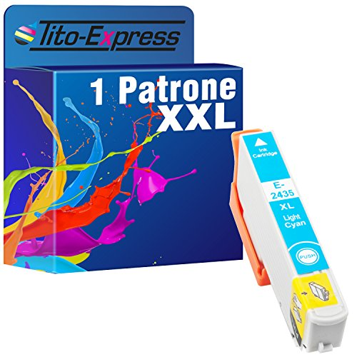 Tito-Express PlatinumSerie 1x Patrone XXL TE2435 Light Cyan kompatibel mit Epson Expression Photo XP 55 XP 750 XP 760 XP 850 XP 860 XP 950 XP 960