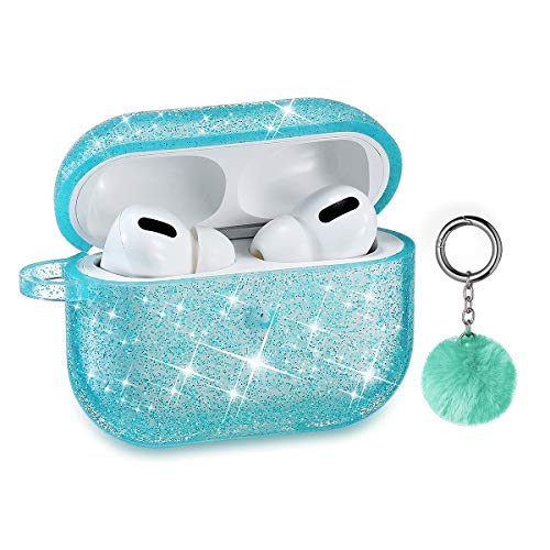 Airpods Pro Case, DMMG Airpods Case Cover Silicone Skin, AirPods Protective Cute Bling Glitter Case with Fluff Ball Keychain, Scratch Proof and Drop Proof for Apple Airpods Pro (Green)
