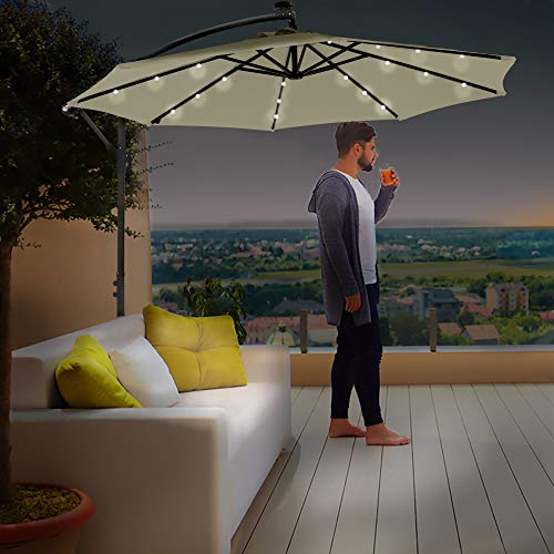 Divine Style Cantilever Parasol Premium Garden Parasol Umbrella with 24 Integrated Solar Powered LED Lights for Outdoor Patio with FREE Waterproof Cover (Vanilla Cream)