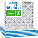 Aerostar Clean House 16x16x1 MERV 8 Pleated Air Filter, Made in the USA, (Actual Size: 15 3/4'x15 3/4'x3/4'), 6-Pack,White