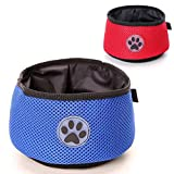 SNIK-S Folding Cloth Dog Bowl- 2 Pack Portable Travel Dog Bowl for Food and Water -Perfect Fabric Waterproof Bowl for Medium & Large Dog Cat