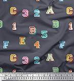 Soimoi Grau Baumwoll-Popeline Stoff Zahlen & Buchstaben
