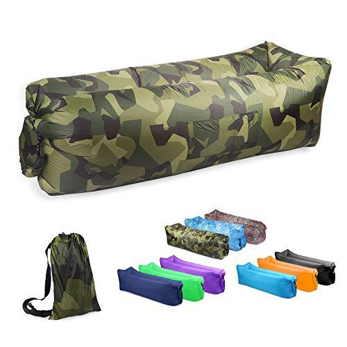 JSVER Wasserdichtes aufblasbares Sofa, Luft Sofa, Luftmatratzen, Luft Couch, mit integriertem Kissen, tragbares aufblasbares Sofa, aufblasbares Outdoor-Sofa Fuer Camping, Park, Strand (Camouflage)