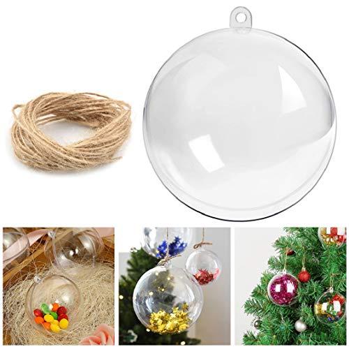 UMIPUBO 20/12 bolas de Navidad reutilizables, transparentes, para rellenar bolas de plástico acrílico, decoración navideña, árbol y boda