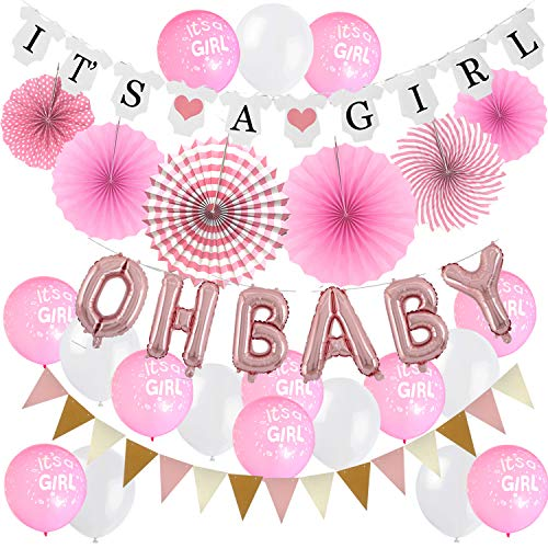 Zerodeco Mädchen Baby Dusche Dekoration, Rosa It's A Girl Girlande Oh Baby Folie Ballons Aufhängen Fächer Girlande Banner und Luftballons für Baby Shower Babydusche