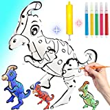 Dinosaur Painting Kit for Kids, 3D Inflatable Dinosaur Toys for Boys and Girls 3-7 Year Old, Assembled Waterproof Drawing Dinosaur Set with Mini Pump 5pcs Watercolor Pen For Children's Ideal Gifts