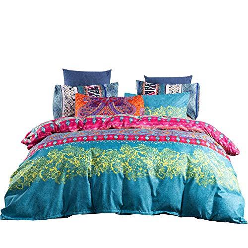 3 Pcs Bedding Set, Bohemian Mandala Retro Indian Print Duvet Cover Set + Pillowcase 80x80,Microfiber Duvet Cover For Adults Women Mens Teenage Girl Boy,Double size 200x200 cm (Blue pink)