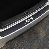 QQY Protezione Paraurti Posteriore, per Peugeot 307 206 308 407 207 3008 208 508 2008 301 408 107 5008 Auto Tronco AntiGraffio Fasce Decorative Protettive personalità Accessori, Fibra di Carbonio