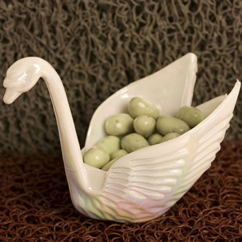 12 Beautiful Iridescent White Swan Wedding Favors Candy Dish Containers 3""