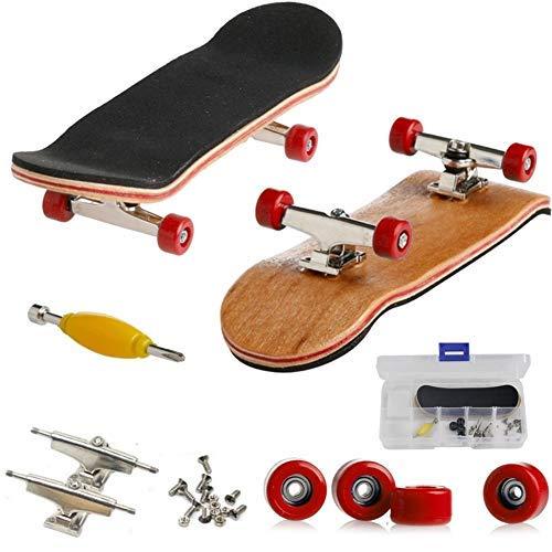 AumoToo Mini-Griffbrett, Professionelle Finger Skateboard Ahorn Holz DIY Montage Skateboarding Spielzeug Sport Spiele Kinder (Rot)