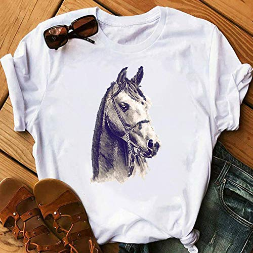 T-Shirt Woman Horse Aesthetics Graphic Print T-Shirt Short Sleeve Summer Female Apply To Daily Use Exercise Running Cycling Gym Etc-27454_M