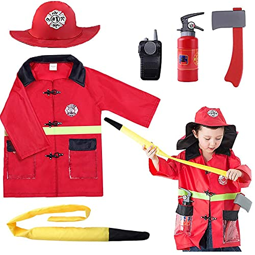 iPlay, iLearn Kids Firefighter Costume, Toddler Fireman Dress up, Fire Pretend Chief Outfit, Halloween Role Play Career Suit W/ Walkie Talkie Hose, Party Birthday Gift for 3 4 5 6 7 Year Old Boy Girl