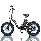 "ECOTRIC Powerful 500W Folding Electric Bicycle 20"" Fat Tire Alloy Frame 36V/12.5AH Lithium Battery..."