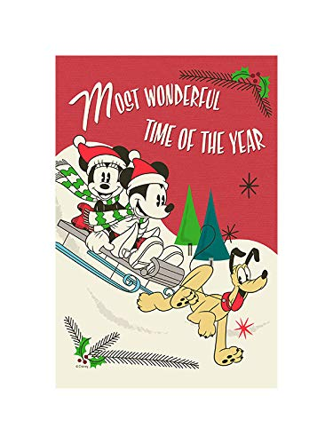 """Flagology.com, Disney, Mickey Mouse & Minnie Mouse, Mickey and Minnie Sledding – House Flag – 28"""" x 40"""", Winter, Outdoor/Indoor, Printed on Both Sides, Officially Licensed Disney"""