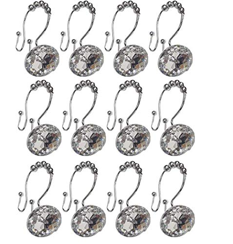 AESTHING Set of 12 Acrylic Double Shower Curtain Hooks for Bathroom, Bling Crystal Shower Curtain Hooks (White)