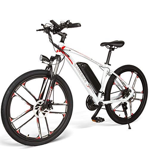 SAMEBIKE MY-SM26 - Mountain Bike elettrica da 26 Pollici, 48 V, 350 W, Ebike a 3 modalità, 21 velocità, con Schermo LCD per Adulti, MY-SM26, Bianco