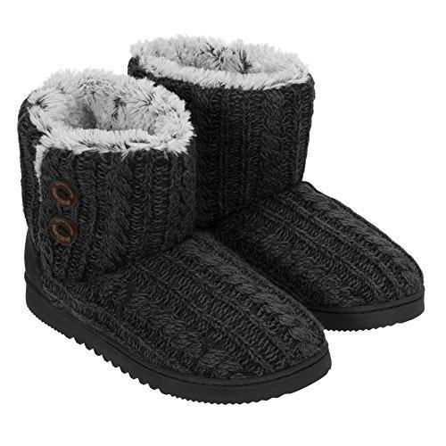 Dearfoams Ladies Sweater Knit Bootie (Medium 7/8, Black)