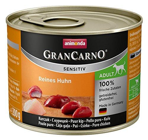 animonda GranCarno Hundefutter Adult Sensitiv, Nassfutter für ausgewachsene Hunde, Reines Huhn, 6 x 200 g