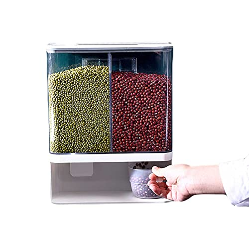 Contenitore per Riso a 2 Griglie, Contenitore per Cereali a Parete, Secchi Dispenser per Cereali Chicchi di Riso, Contenitore per Alimenti, Distributore di Riso per Riso