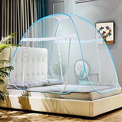 Omont Pop Up Mosquito Net Tent with Bottom, Folding Design for Bedroom and Outdoor Trip, Finest Holes Anti Mosquito Bites, Easy to Install and Wash for Twin to King Size Bed (79 x71x59 inch) by Omont