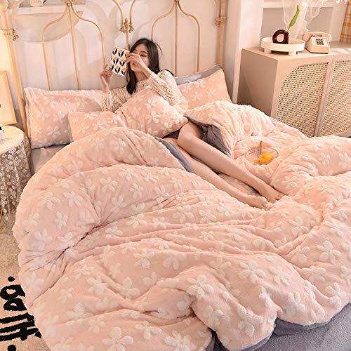 juegos de sábanas de 101-Franela de terciopelo de leche de terciopelo de bebé ropa de cama de cuatro piezas cama individual funda nórdica king individual funda de almohada regalo-J_Cama de 1,8 m (4 p