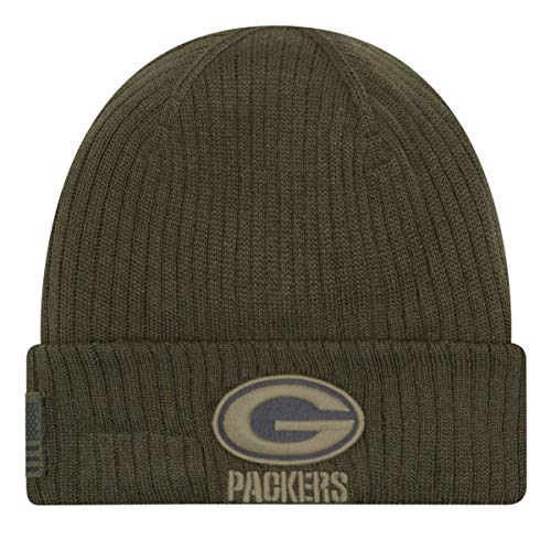 New Era Green Bay Packers Beanie - On Field 2018 Salute to Service Knit - Green - One-Size