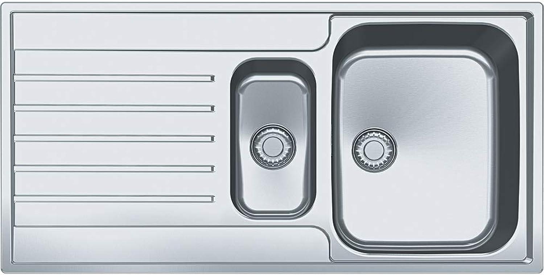 AGX 651 1000x510mm, Reversibel, rostfreier Edelstahl gebuerstet,Integralablauf 3 1 2', mit Druckknopfventil, mit Grüncktem Ueberlauf und2 Batterieloecher