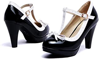 415e08d1d Susanny Women's Chic Sweet Round Toe T-Strap Bows Adorable Buckle High Cone  Heel Mary