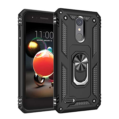 Phone Case for [LG Zone 4 (Verizon Wireless)], [Ring Series][Black] Shockproof Defender [Full Rotating Metal Ring] Cover with [Kickstand] for LG Zone Optimus 4 (Verizon Wireless Prepaid Phone)