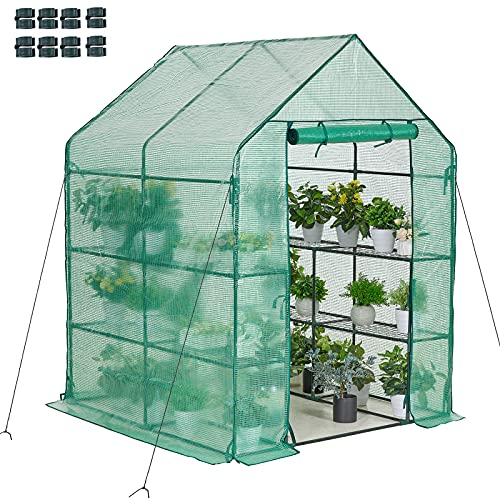 AMERLIFE Mini Walk-in Greenhouse 3 Tier 4 Shelves with PE...