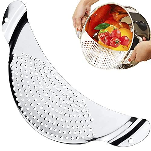 TuoFang Filtro lateral de acero inoxidable, escurreplatos para ollas, filtro de agua con mango, para todas las cacerolas y cuencos para espaguetis, pasta, tagliatelle y frutas