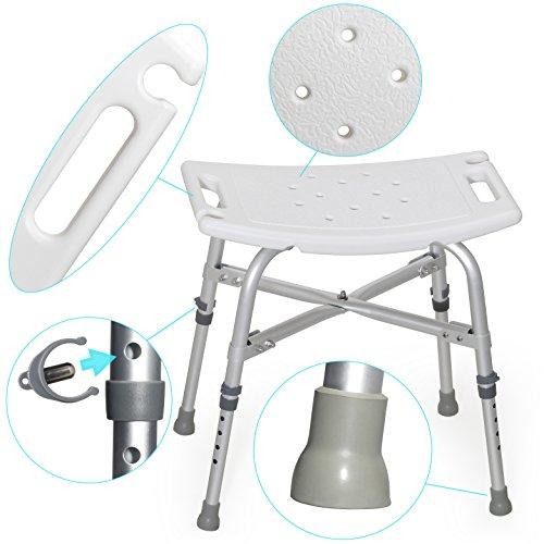 MedX5 (Upgrade 2019) Duschhocker höhenverstellbar, Badestuhl, Badehocker, maximale Belastung: 225kg mit EXTRA Querverstrebungen