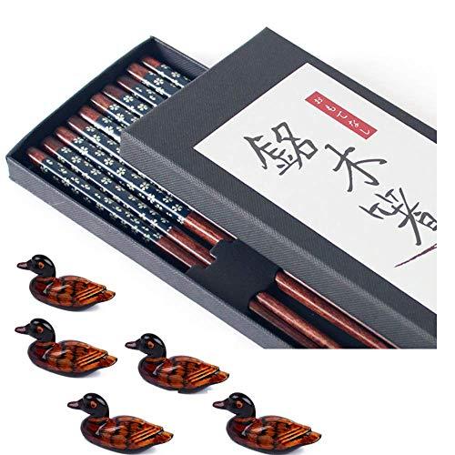 Chopsticks Reusable Dishwasher Safe Wooden Chopsticks Set - Japanese Chopsticks Premium Quality - Non Slip Natural Wood Chop Sticks - Cute Duck Chopstick Rest Holders (Wooden Blue x 5 + Holder x 5)