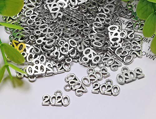 Shapenty Mini Metal Year Signet 2020 DIY Pendant Charms Accessory Bulk for Bracelet Necklace Earrings Keychain Tassels Crafting Jewelry Making Christmas Graduation Party Decor, 100PCS (Silver, 2020)