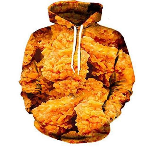Sweat à capuche unisexe avec impression de poulet frit - Beige - L