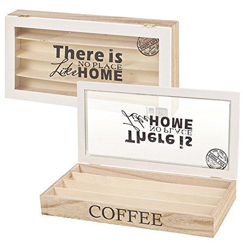 Arti Casa, Contenitore in legno per bustine di tè e caffè con coperchio in vetro, Coffee Capsule Box