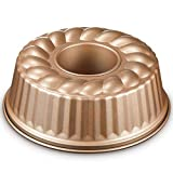 DEIK Molde Savarín Ø24 cm, Metallic Molde Bundt Cake Redondo, Bundt Pan, Revestimiento...