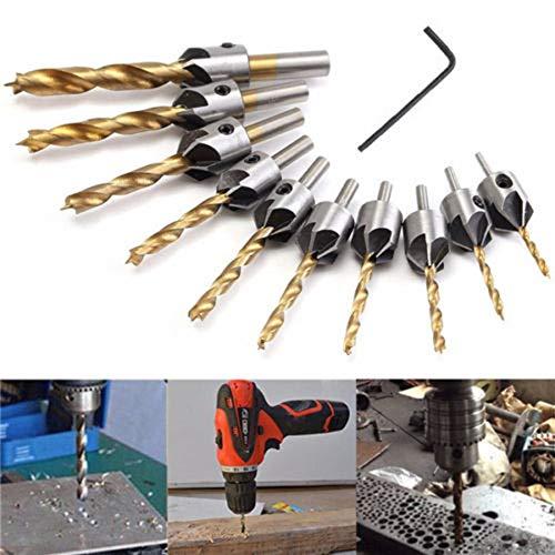 RoxTop Durable 3 mm-10 mm Verwendung HSS 5 Fluten Senker Holzbohrer + Schnellwechsel-Hex Schaftschraube Versenkbohrer + Wrench