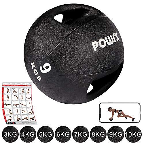 Medizinball mit Griffen Profi 3 - 10 kg von POWRX | schwarz Gewichtsball Studioqualität | schwarz (9 kg)